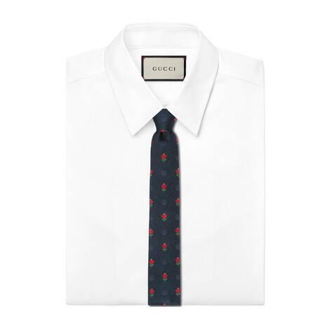 花卉和双G真丝领带