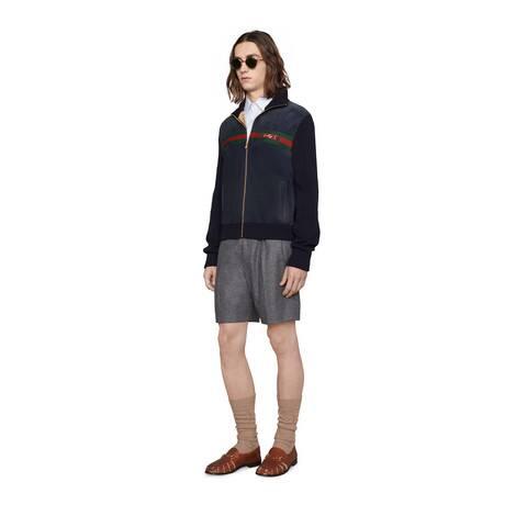 方形G条纹图案切丝棉质衬衫