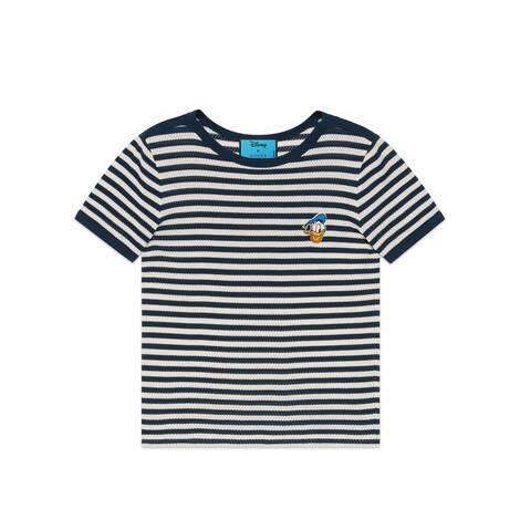 Disney x Gucci唐老鸭印花条纹T恤