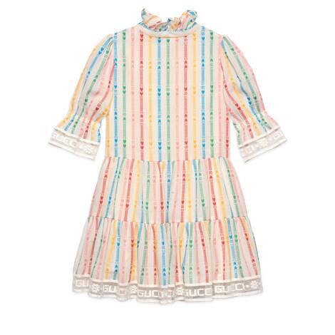 儿童GG和星星印花棉质连衣裙