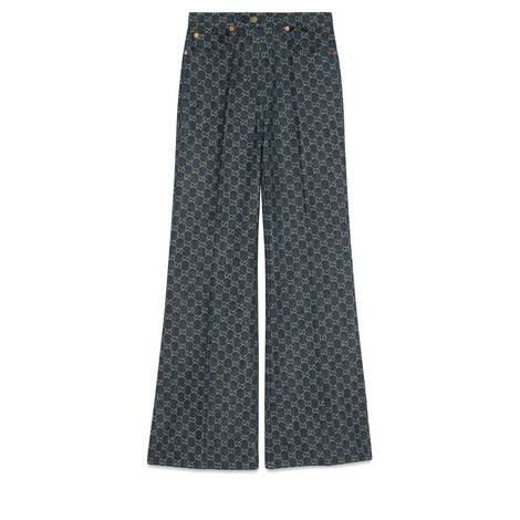 GG Denim系列GG标识阔腿牛仔裤