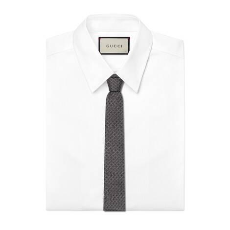 马衔扣印花真丝领带