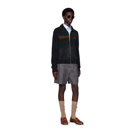 麂皮和针织棉飞行员夹克