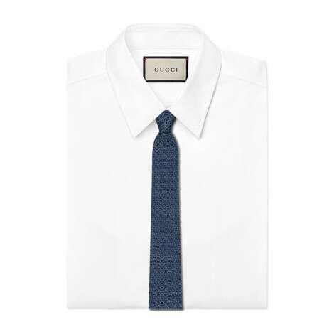 双G勾边真丝领带