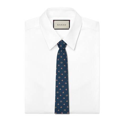 花卉和互扣式双G真丝领带