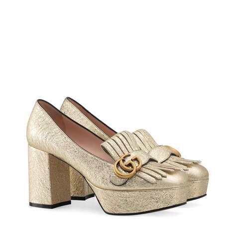 饰流苏层压皮革防水台浅口鞋