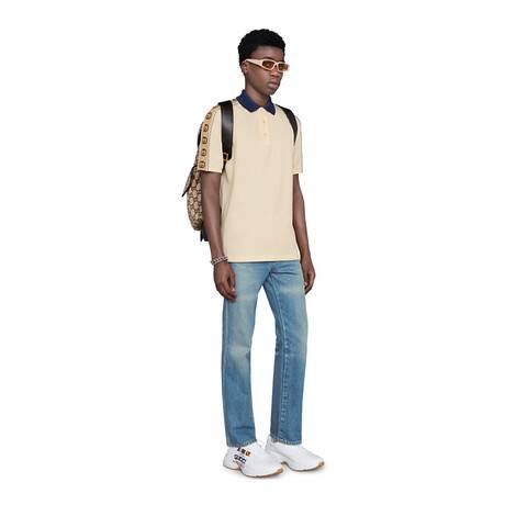 饰互扣式双G条纹Polo衫