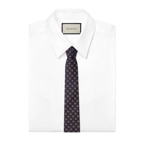 饰双 G 和红心真丝领带