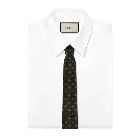 双 G 马衔扣链真丝领带