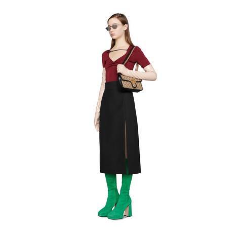羊毛真丝混纺开衩半身裙
