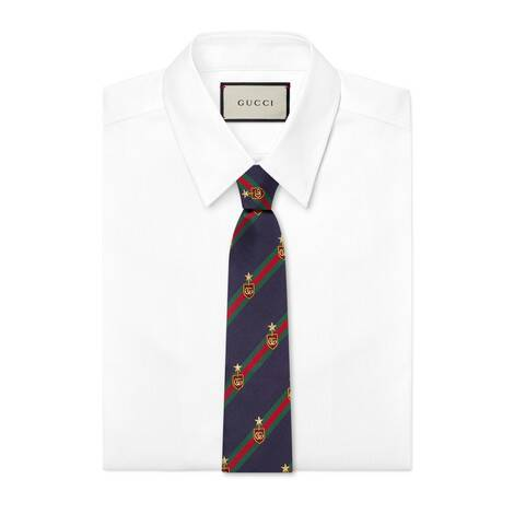 织带纹章真丝领带
