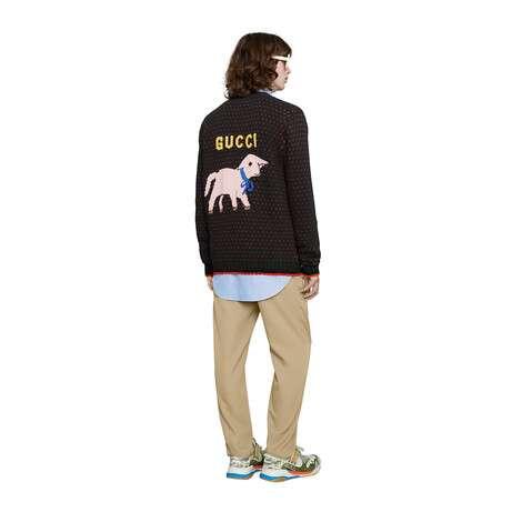 饰小羊嵌花羊毛开衫