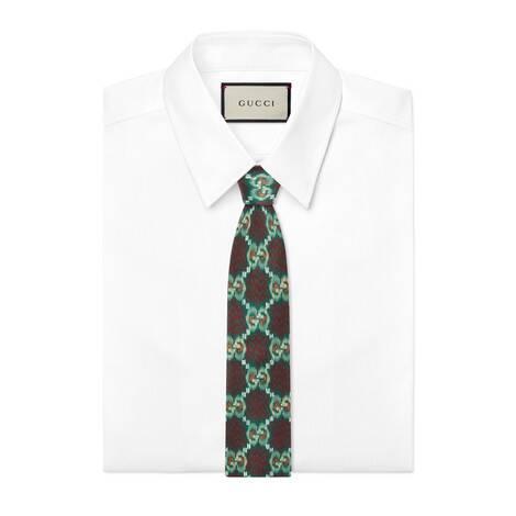 GG花点印花真丝领带
