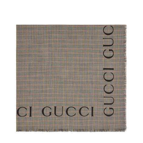 Gucci标识格纹羊毛披肩