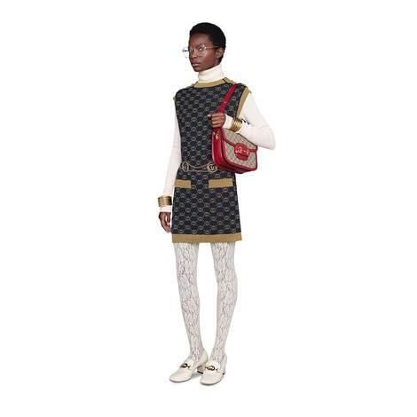 互扣式双G金银丝线羊毛连衣裙