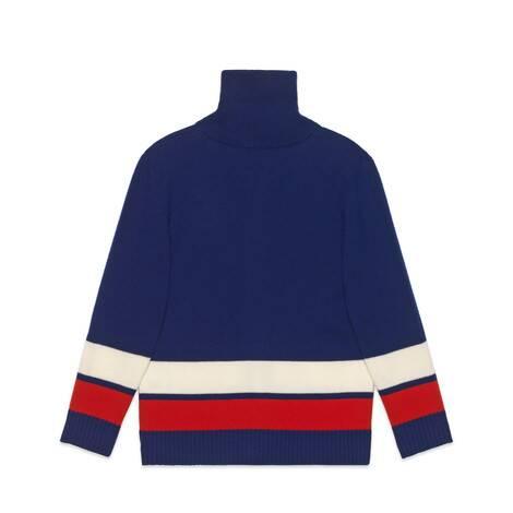儿童互扣式双G饰带羊毛开衫