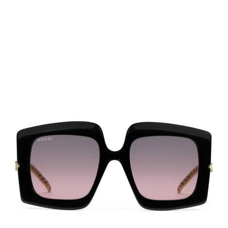 官网专享Gucci迷链系列饰吊坠方形镜框太阳眼镜