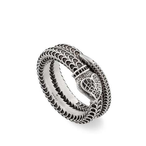 Gucci Garden 系列纯银灵蛇造型戒指