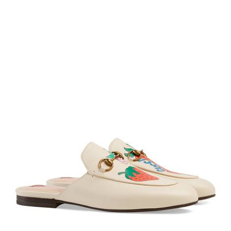 Princetown 系列 Gucci 草莓印花拖鞋