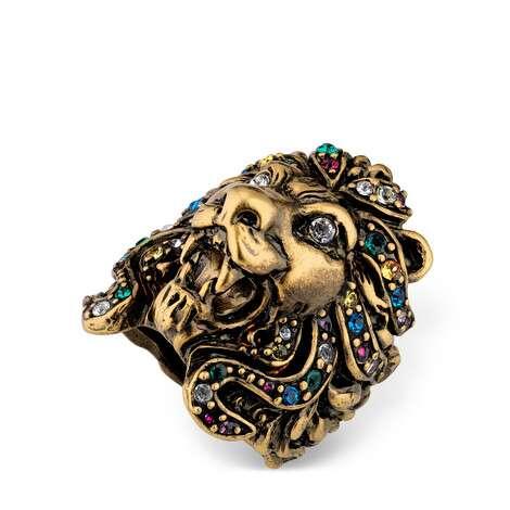 饰彩色水晶狮头戒指