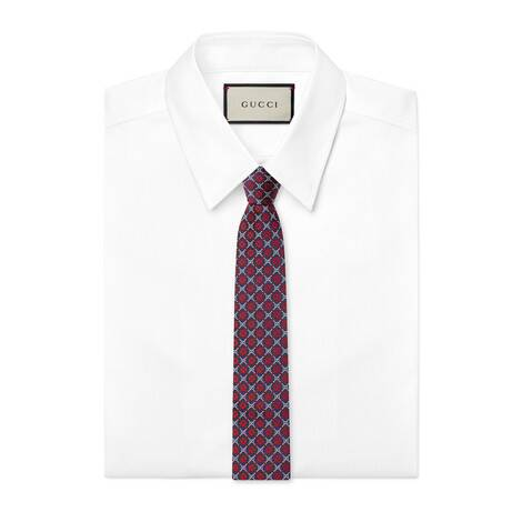 GG菱形真丝领带