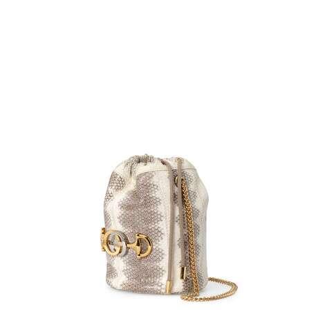 Gucci Zumi 系列迷你蛇皮水桶包