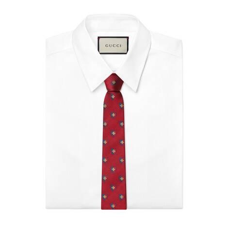 蜜蜂徽章真丝领带