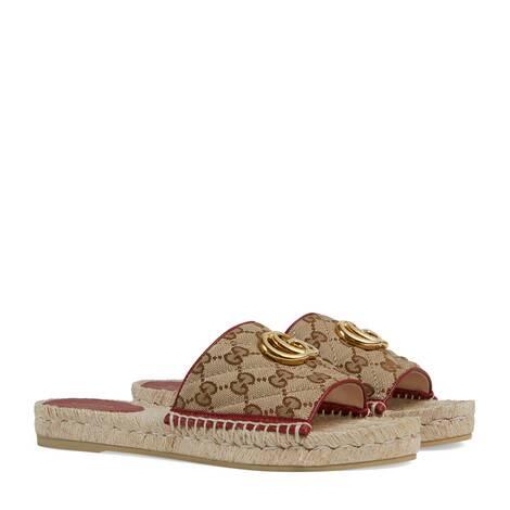 女士GG绗缝帆布草编鞋凉鞋