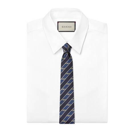 互扣式双G马衔扣提花真丝领带