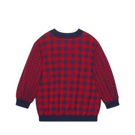 儿童方形G格纹棉质夹克