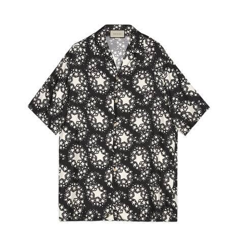 星星印花真丝超大造型保龄球衫