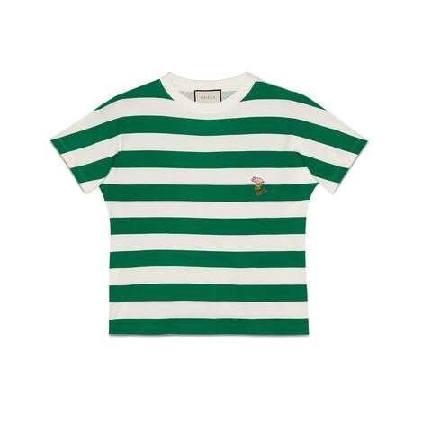 小猪贴饰条纹T恤
