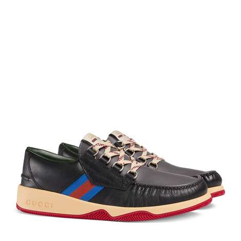 条纹织带皮革系带鞋