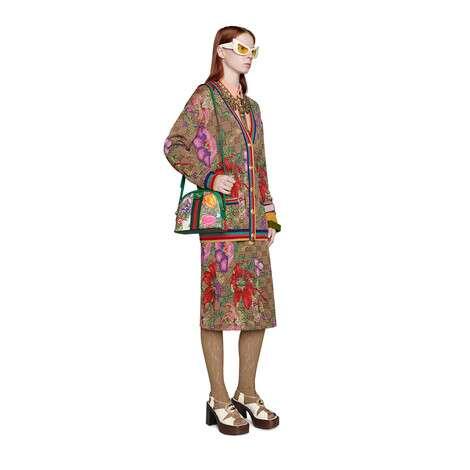 GG花卉羊毛提花半身裙