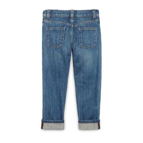 儿童织带牛仔裤
