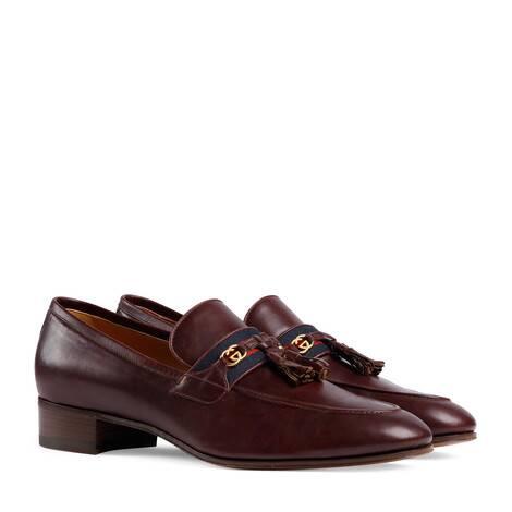 饰织带和互扣式双G男士乐福鞋