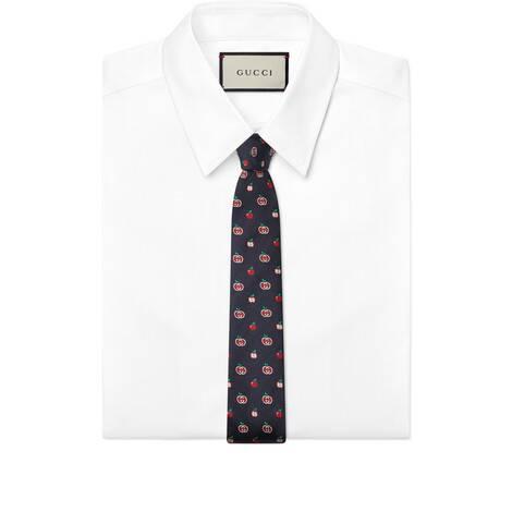 GG苹果真丝提花领带