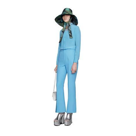 羊毛真丝混纺七分喇叭裤