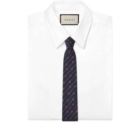 互扣式双G和圆点真丝羊毛领带