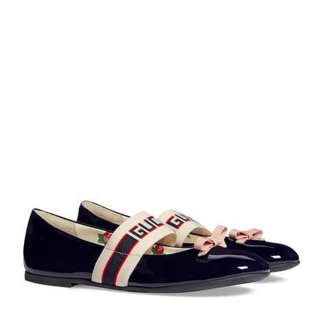 儿童Gucci条纹漆皮芭蕾舞鞋