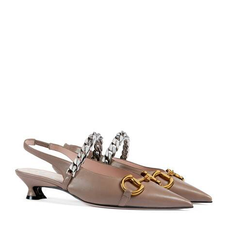 女士马衔扣皮革浅口鞋