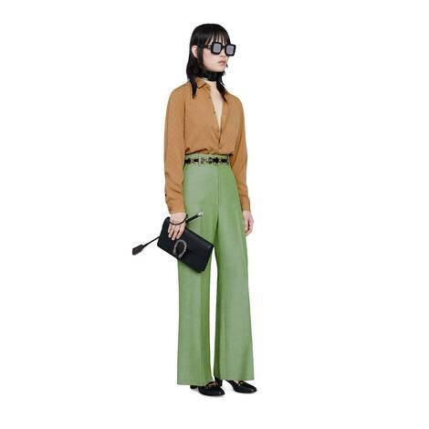 女士格纹GG双绉真丝衬衫