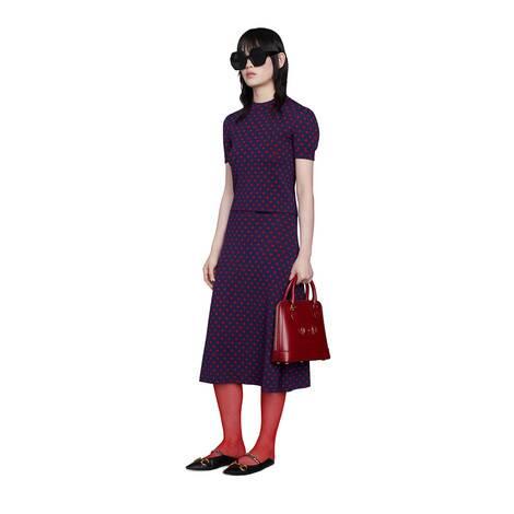 波点和双G羊毛半身裙