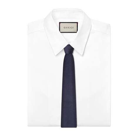 双G和马衔扣提花真丝领带