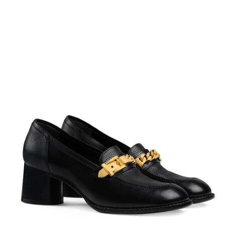 女士链条中跟乐福鞋