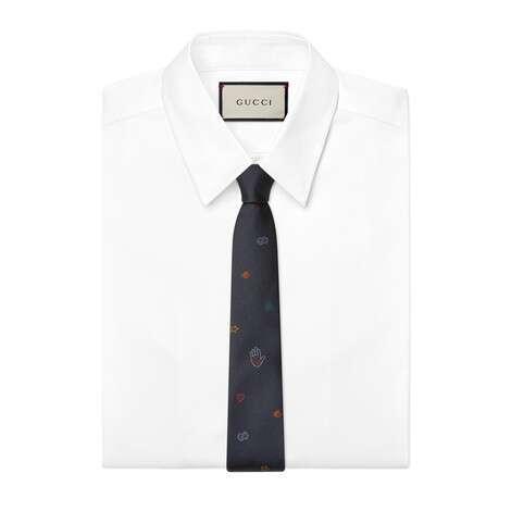 标志符号提花真丝领带