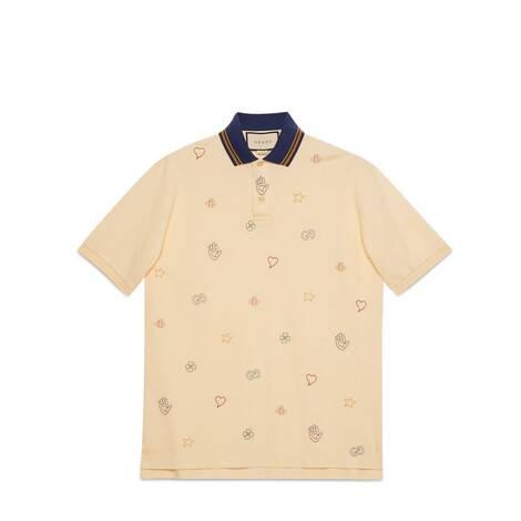饰符号刺绣棉质Polo衫