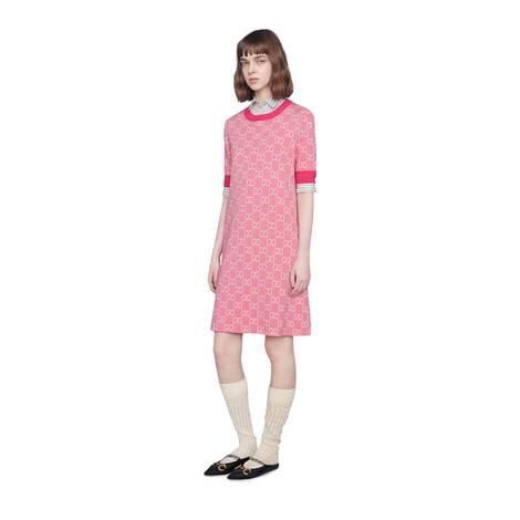 GG羊毛混纺珠地棉短款连衣裙