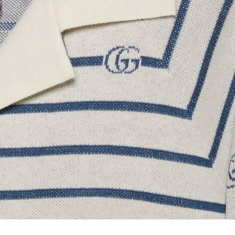 双G条纹羊毛棉混纺polo衫