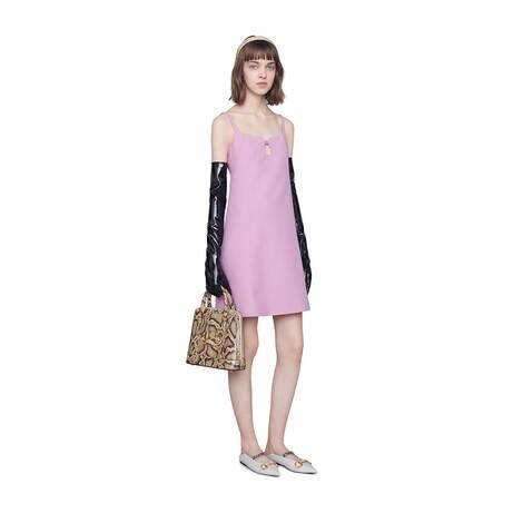 饰方形G短款羊毛真丝混纺连衣裙